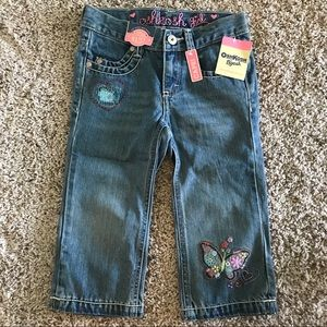 NWT OshKosh six 6 Capri jeans w/embroidered design